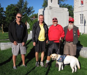 "Bob Norrie, James Head, ""Cous""Cousineau, Service dog Thai, Chris Ingersoll"